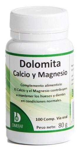 Dimefar Dolomita calcio y magnesio 100 comprimidos